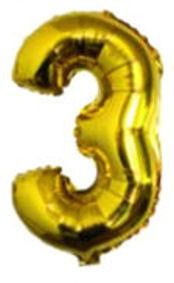 Folien-Zahlenballon (G), gold - XXL - 3, Gas geeignet
