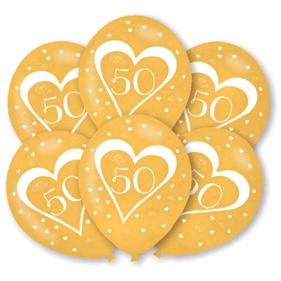Latex-Rundballon 'Zahl 50', gold, im 6er Pack. mit Global-Druck
