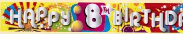 'Cool Kidz - Happy 8th Birthday'-Banner, ca. 270 cm lang