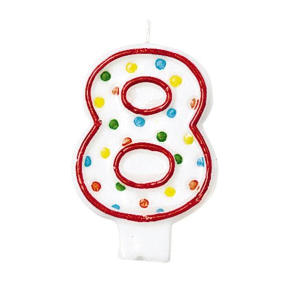 '8 - Polka Dots' Party-Zahlen-Kerze