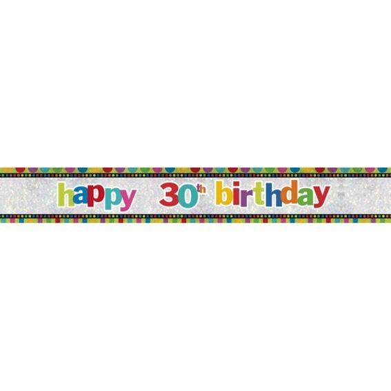 'Happy 30th Birthday'-Banner, ca. 270 cm lang