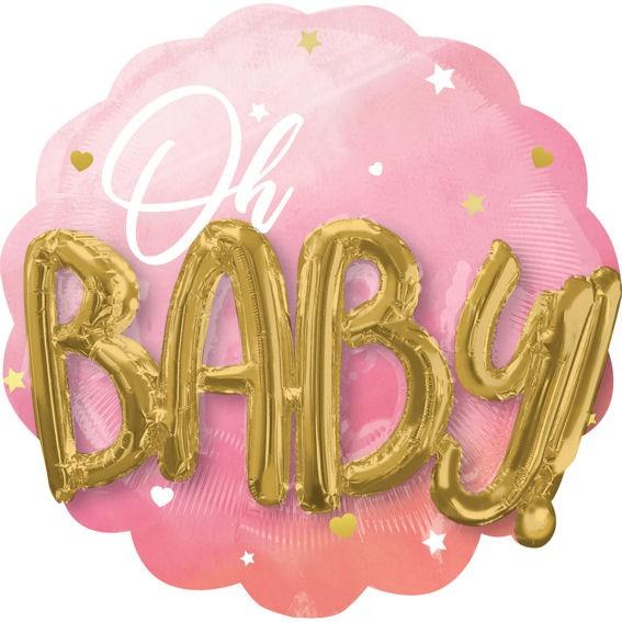 3D-Multi-Ballon (i) 'Pink Baby Girl' ca. 71 cm