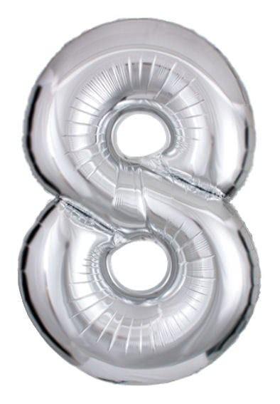 Folien-Zahlenballon (G), silber - XXL - 8, Gas geeignet
