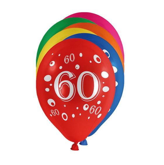 Zahlen-Luftballon '60' bunt, im 10er-Pack.