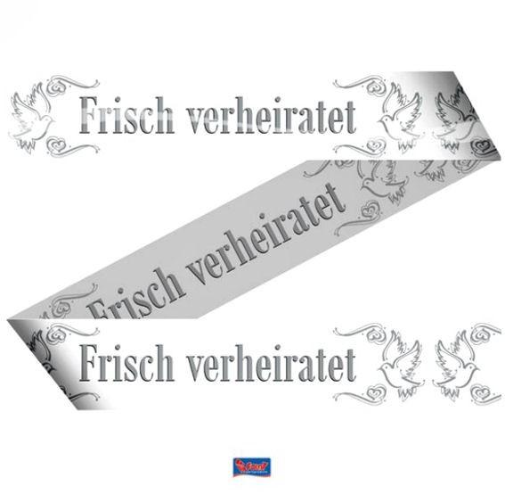 'Frisch Verheiratet' Absperrband, weiß/grau, ca. 7,5 cm x 15 mtr.