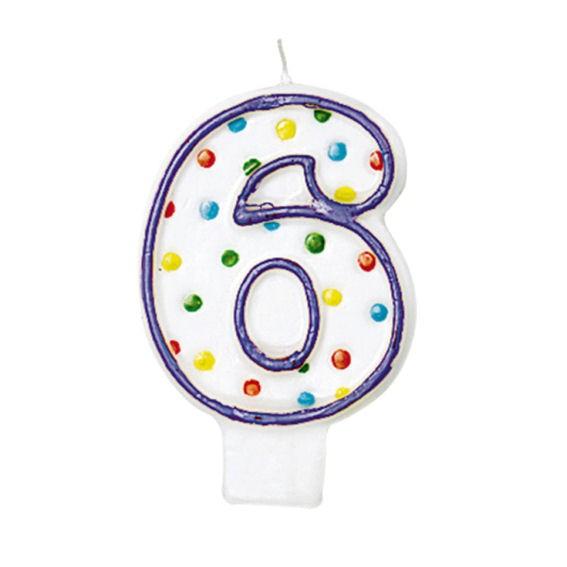 '6 - Polka Dots' Party-Zahlen-Kerze