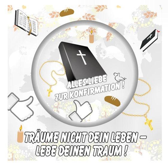 Aufkleber 'Alles Liebe zur Konfirmation!' Maße: ca. 11,5 x 11,5 cm