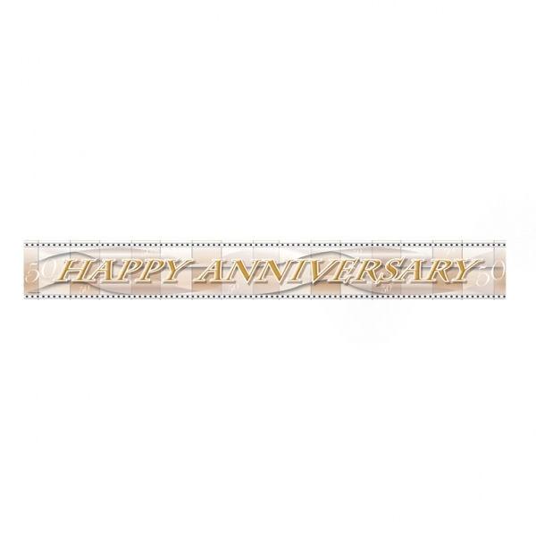 'Happy Anniversary 50 - Goldhochzeit'-Banner, ca. 365 cm lang