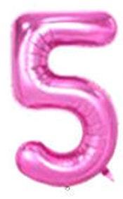 Folien-Zahlenballon (G), pink - XXL - 5, Gas geeignet