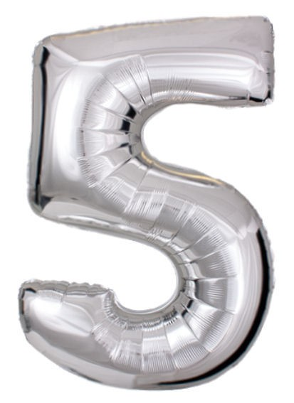 Folien-Zahlenballon (G), silber - XXL - 5, Gas geeignet