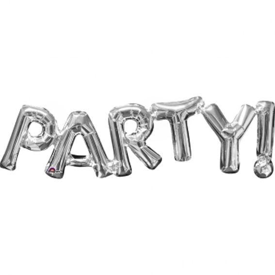 Folien-LUFTballon Schriftzug / Wort 'PARTY!' silber