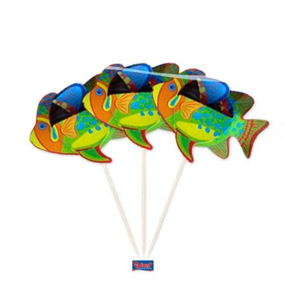 Cupcake-Toppers / Picks 'Tropische Fische' 8er-Pack. Papierartikel auf Holzstab
