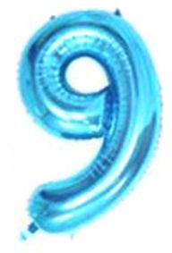 Folien-Zahlenballon (G), blau - XXL - 9, Gas geeignet