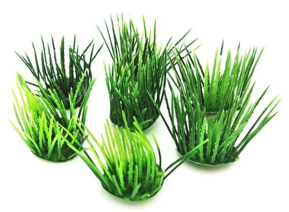 1 Stück 'Rasenbüschel', lose, Kunststoff, ca. 3 cm Ø x 3,5 cm hoch, grün
