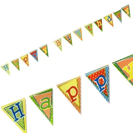 'Happy Birthday' Wimpelkette, Papier, lackiert, ca. 4 m lang