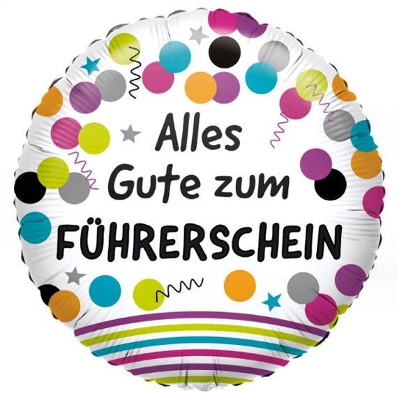 Folien-Rundballon 'Alles Gute zum Führerschein', ca. 43 cm Ø, verschiedene Ausführungen