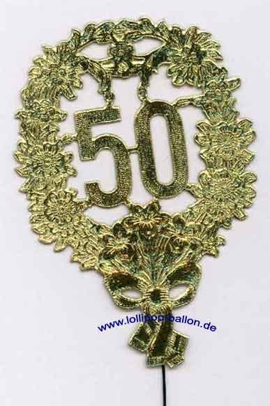 Jubiläumszahl-Stecker '50', ca. 12 cm, gold