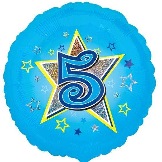 Folien-Rundballon 'Blue Stars 5', ca. 45 cm Ø, verschiedene Ausführungen