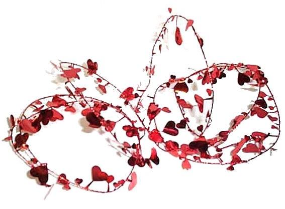 Draht-Girlande 'Herz', rot