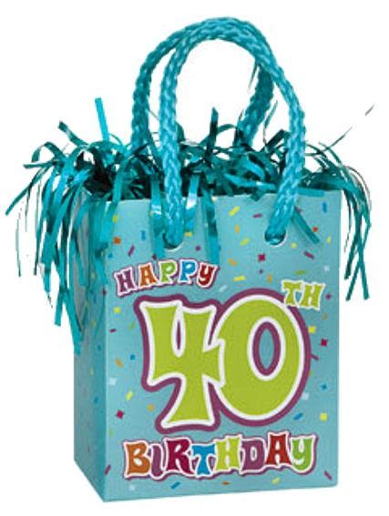 'Happy 40th Birthday' ca. 180 gr. schwer, Mini Geschenktasche-Ballongewicht