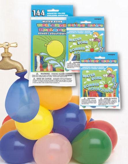 144 Stück Wasserbomben, bunt, Rund-Latexballons