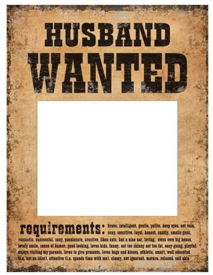 'Photo Poster - Husband WANTED / Wife WANTED' im 2er-Pack. 24 x 32 cm, Papier