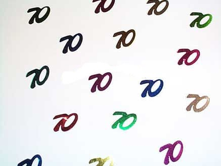 'Zahlen 70' Flitterbox-Streuartikel, bunt, ca. 14 gr.
