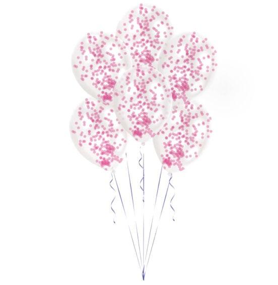 "'Confetti-Balloons - Pink' 11"", 6 transp. Ballons mit pinkem Konfetti"
