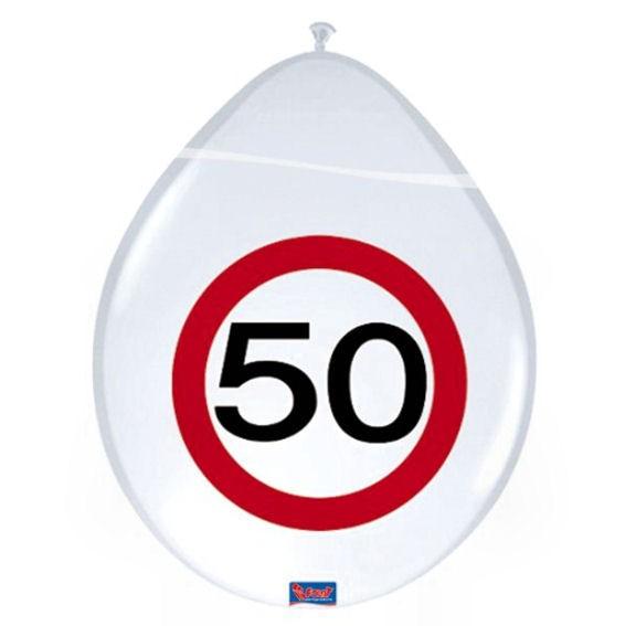 'Verkehrszeichen 50' - Luftballons, ca. 30 cm Ø, weiß, 1-S-Druck, im 8er-Pack.