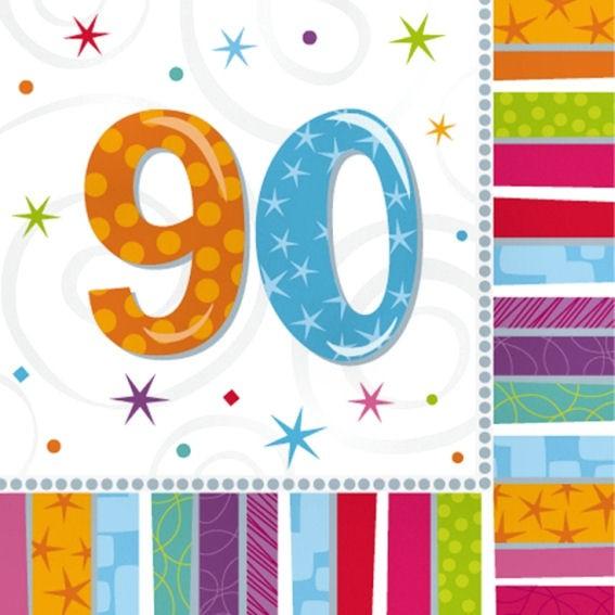 Servietten 'Radiant - Birthday 90th', 16er-Pack., ca. 33 x 33 cm