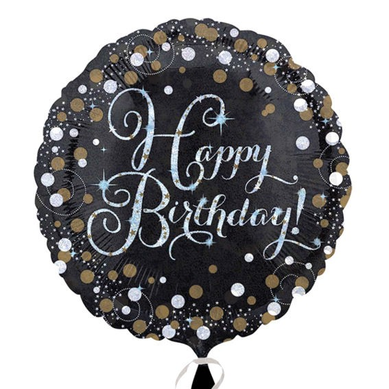 Folien-Rundballon 'Black & Gold - Happy Birthday'