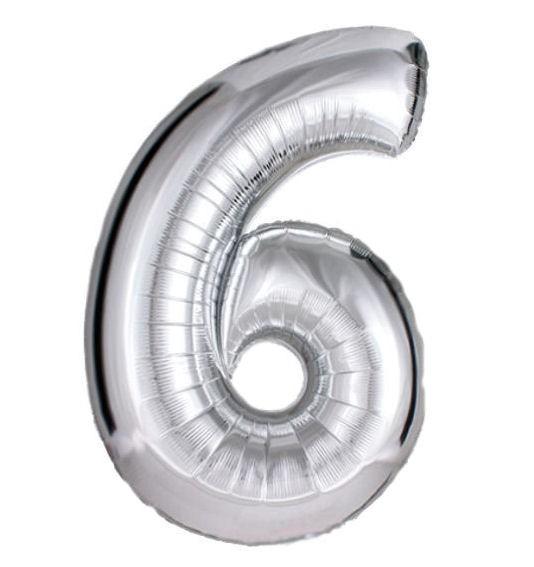 Folien-Zahlenballon (G), silber - XXL - 6, Gas geeignet