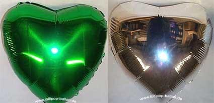 "Folien-Herzballon (K), ca. 34"" / 86 cm Ø, grün-silber"