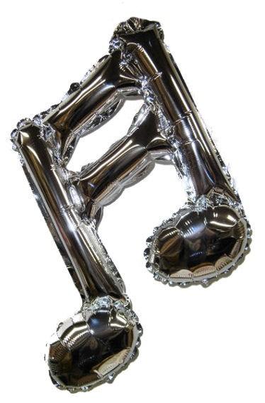 Mini-Folien-LUFTballon 'Doppel-Note' silber