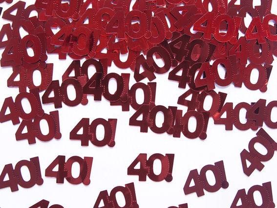 'Zahlen 40' Flitterbox-Streuartikel, rot, ca. 15 gr.