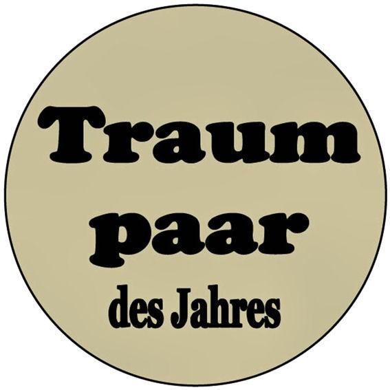 Aufkleber 'Traumpaar des Jahres' transparent, rund, Maße: ca. 5 cm Ø