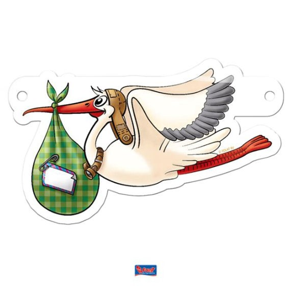 'Stork / Storch' Banner-Letter ca. 14 x 8 cm, Papierartikel