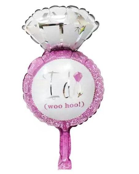 Mini-Folien-LUFTballon 'Diamantring - I Do' pink