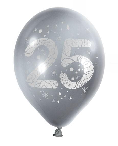 Latex-Rundballon 'Zahl 25', silber, im 10er Pack.