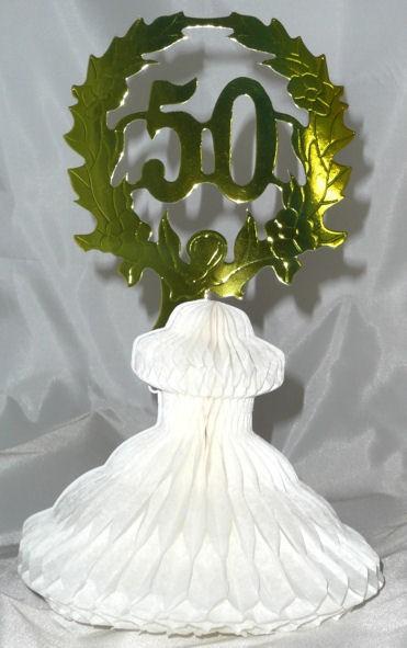 Tisch-Dekoration '50', gold-weiß, ca. 25 cm Papierfaltartikel