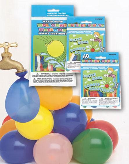 60 Stück Wasserbomben, bunt, Rund-Latexballons