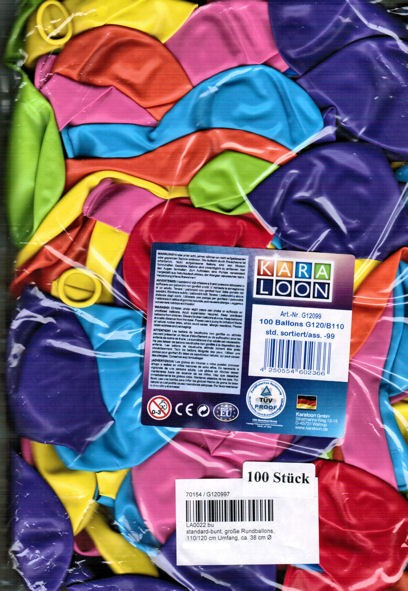 100 Stück Luftballon mit ca. 35 cm Ø, 110/120 cm Umfang, bunt-sortiert