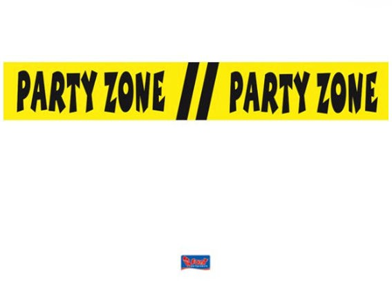 'Party Zone' Absperrband, ca. 7,5 cm x 15 mtr.
