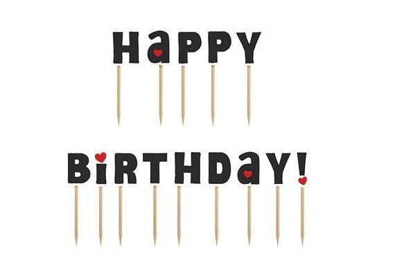 Cupcake-Toppers / Picks 'Happy Birthday', 14er-Pack. Papierartikel auf Holzstäbchen