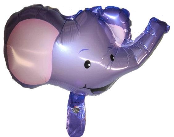 Mini-Folien-LUFTballon 'Elefanten-Kopf', lila