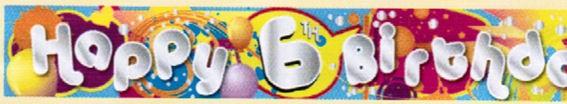 'Cool Kidz - Happy 6th Birthday'-Banner, ca. 270 cm lang