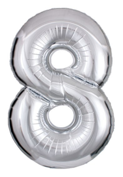 "'Zahl 8', silber, Mini-Folienballon mit Ventil ca. 16"" / 40 cm"
