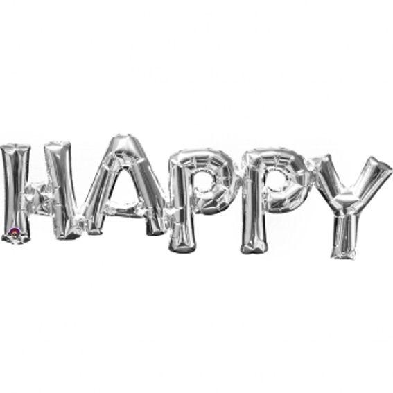 Folien-LUFTballon Schriftzug / Wort 'HAPPY' silber