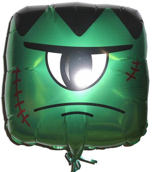 Folien-Quadratballon 'Green Monster Q-BLOON Halloween', ca. 45 cm Ø, verschieden