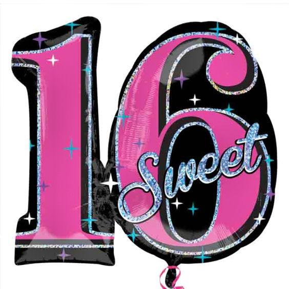 Folien-Zahlenballon 'Sweet 16 Sparkle', ca. 71 cm, ohne Gasfüllung